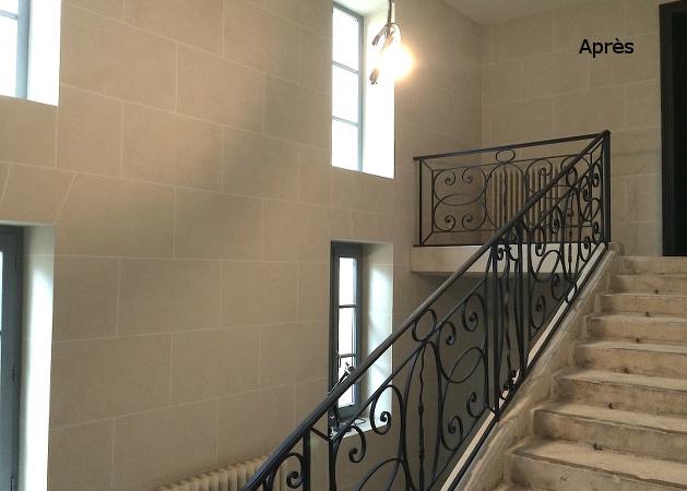Appareillage pierre de france for Peinture cage escalier immeuble